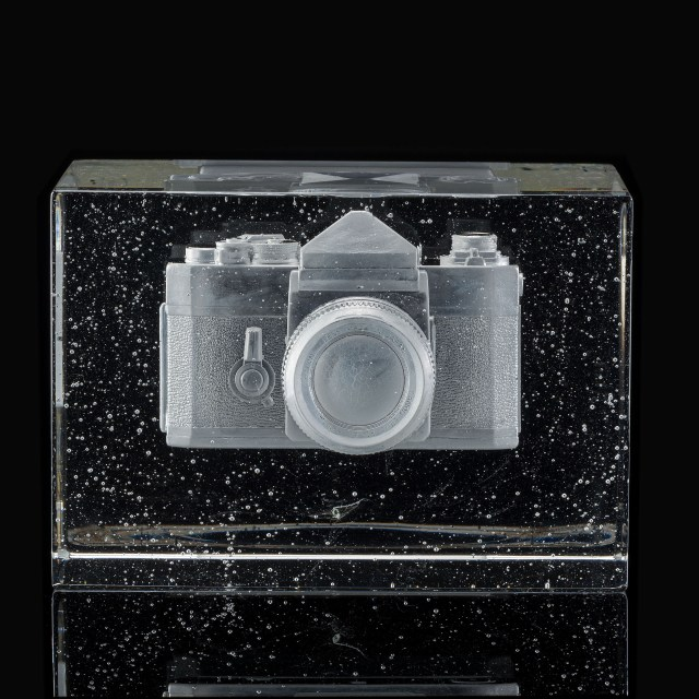 """TITLE: Forgetting In The Process Of Remembering I DATE: 2019 SIZE: 7""""L x 9.5W x 6.75""""H METHOD: Negative core casting, Polished MATERIALS: Lead crystal PHOTO: Keay Edward"""