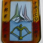 Kiln formed and painted plaque for the celebration of the 50 years of the Frecce Tricolori, the italian aerobatic demonstration team.