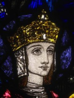 "Detail from Harry Clarke's ""The Coronation of the Blessed Virgin"" at The Kelvingrove Museum in Glasgow, Scotland."