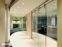 Exposed Rail Frameless Glass Sliding Doors