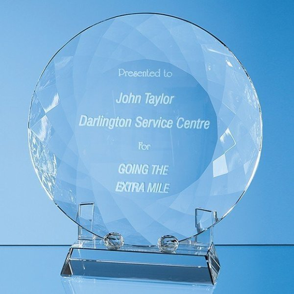 15cm Optical Crystal Facet Plate with Stand