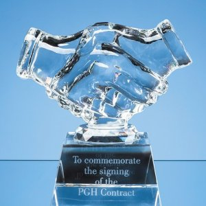 11.5cm Optical Crystal Handshake Award