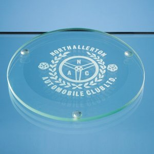 10cm Jade Glass Round Coaster