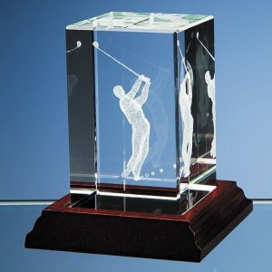 3D Driving Golfer in Optical Crystal Block