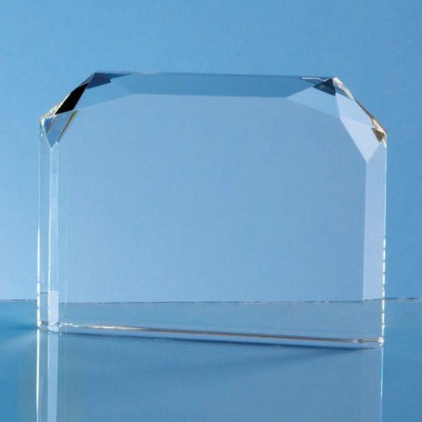 13cm Optical Crystal Horizontal Facet Rectangle Award
