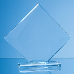 15.5cm x 18cm x 10mm Clear Glass Vision Diamond Award in a Gift Box