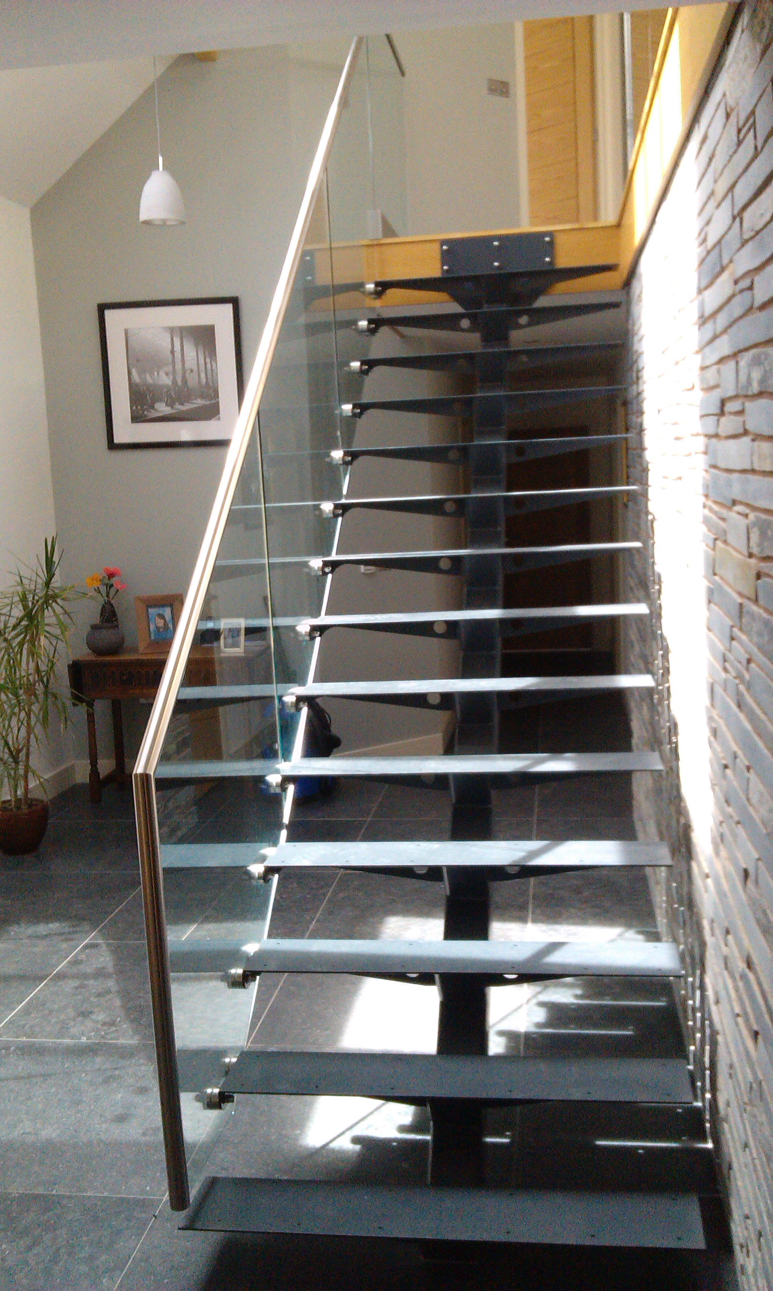 Steel  Glass Open Plan Staircase With Wooden Treads  The