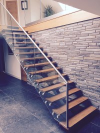 Steel & Glass Open Plan Staircase With Wooden Treads - The ...