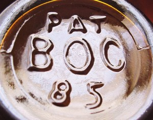 B O C mark on amber beer bottle