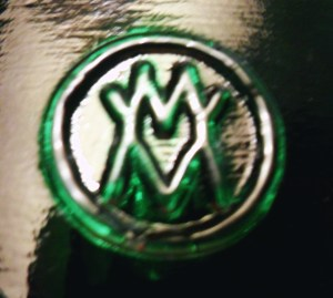 "VM (MV) logo on CD 642 ""Gingerbread Man"" style insulator made by Verreries de Masnieres"
