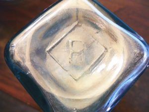 B in a diamond (on base of aqua pickle bottle) - Binghamton Glass Company, Binghamton, New York