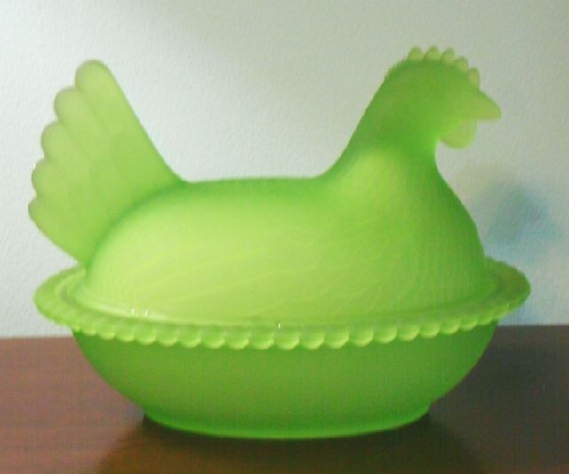 "Indiana Glass hen in Frosted or ""Satin"" Green"