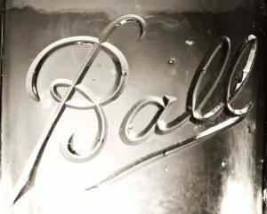 "Ball cursive mark - embossing as seen on clear glass ""Ball Perfect Mason"" jar"