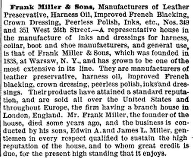 Frank Miller & Sons - New York, New York - 1885 article