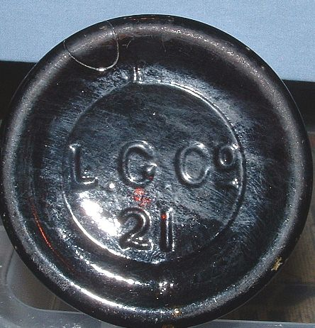 L.G.CO. bottle, typical mark arrangement of Lindell Glass Company, St. Louis