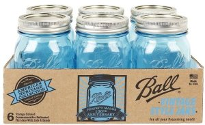 """New issue Blue glass Ball Perfect Mason jars, """"American Heritage Collection"""" in pint size."""