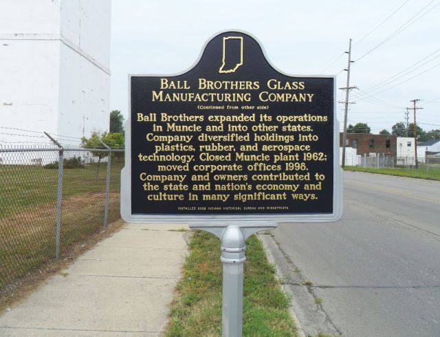 Ball Brothers plaque, side two- Muncie, Indiana