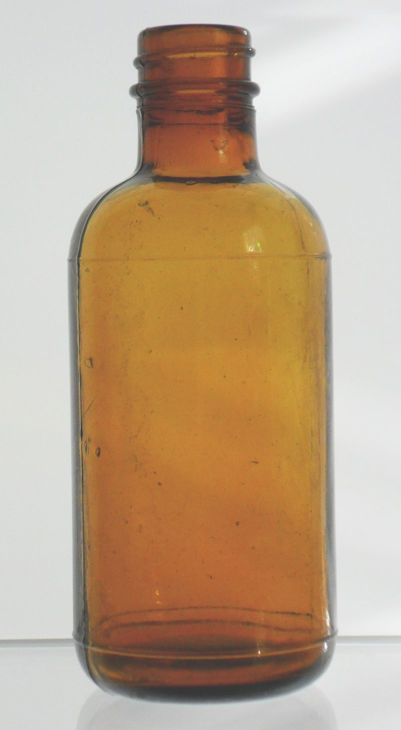 Vintage brown barrel glass bottle identification
