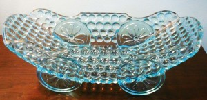 """Thousand Eye"" Blue ""Carriage"" Relish Dish, probably made by Richards & Hartley, Pittsburgh, PA circa 1880s"