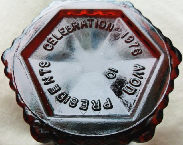 Base embossing on ruby red CAPE COD goblet made for Avon