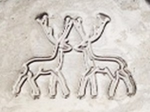 Two deer facing each other, logo used by Cerve S.p.A, Parma, Italy. (Photo courtesy of Diana Manganaro).