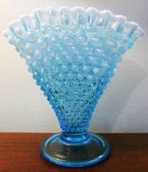 "Blue Opalescent ""Fan Vase"" by Fenton"