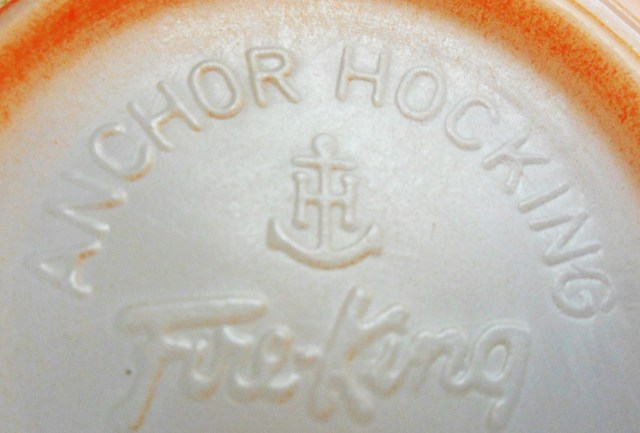 Anchor Hocking mark as seen on base of orange FireKing mug.