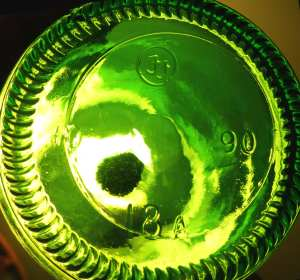 Foster-Forbes emerald green soda bottle base-1990 date code.