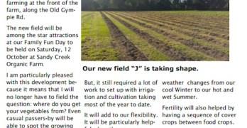 Sandy Creek Organic Farm Letter 23 September 2013