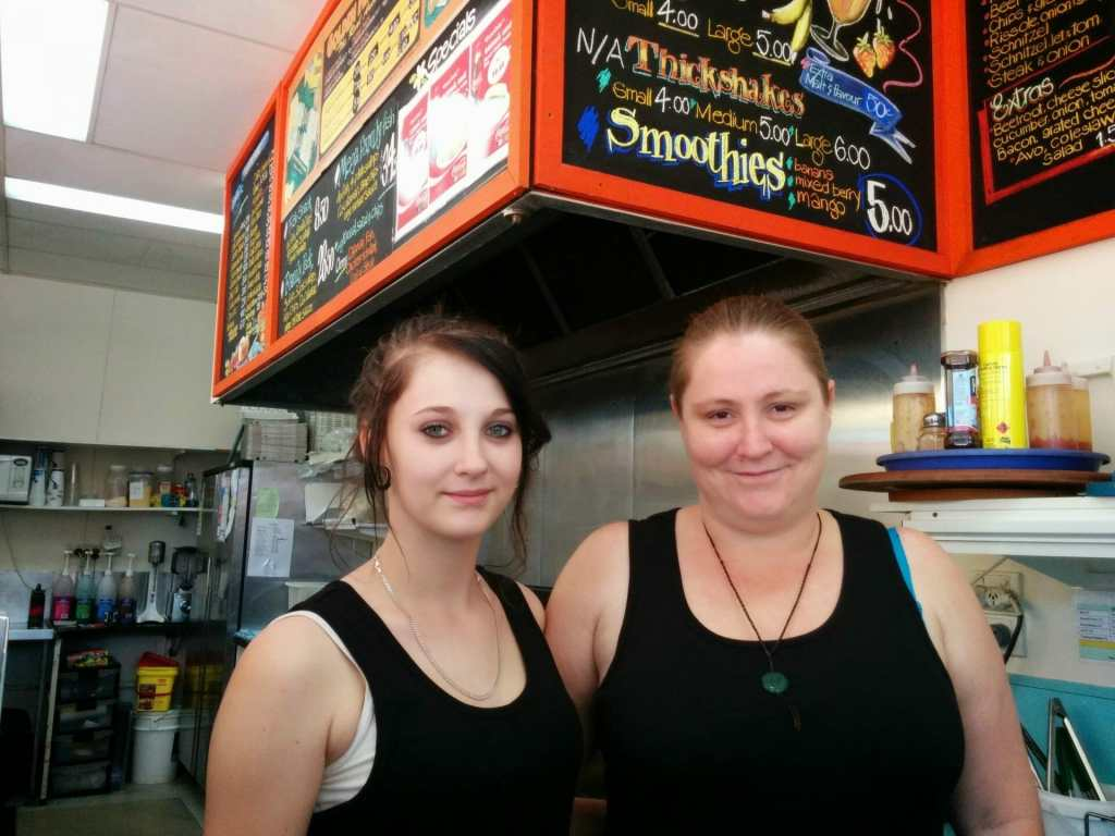 Pauline and Temeike Newton serving at Neddys Nosebag Cafe and Takeaway 2014
