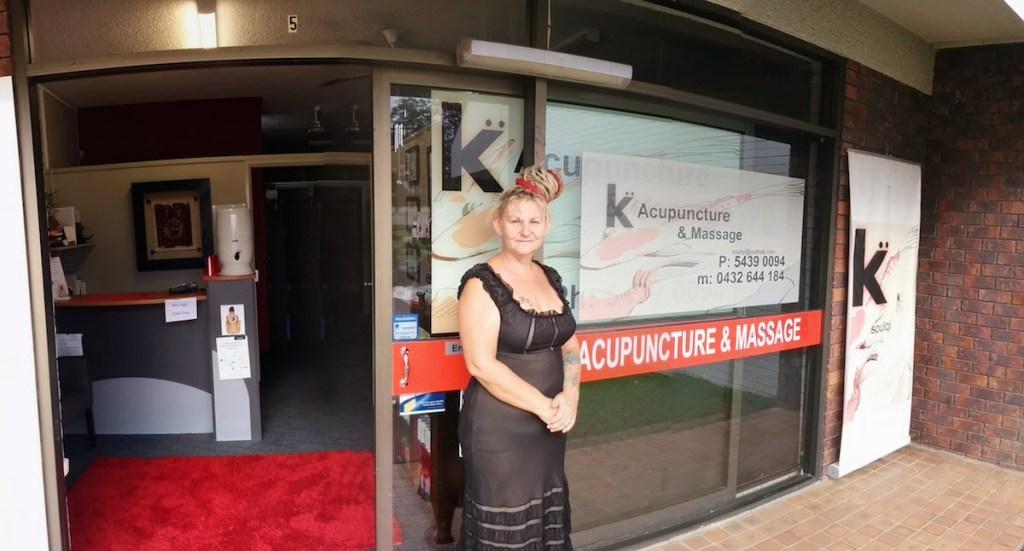 Kaz Thomas outside Soulqi Acupuncture & Massage 2014