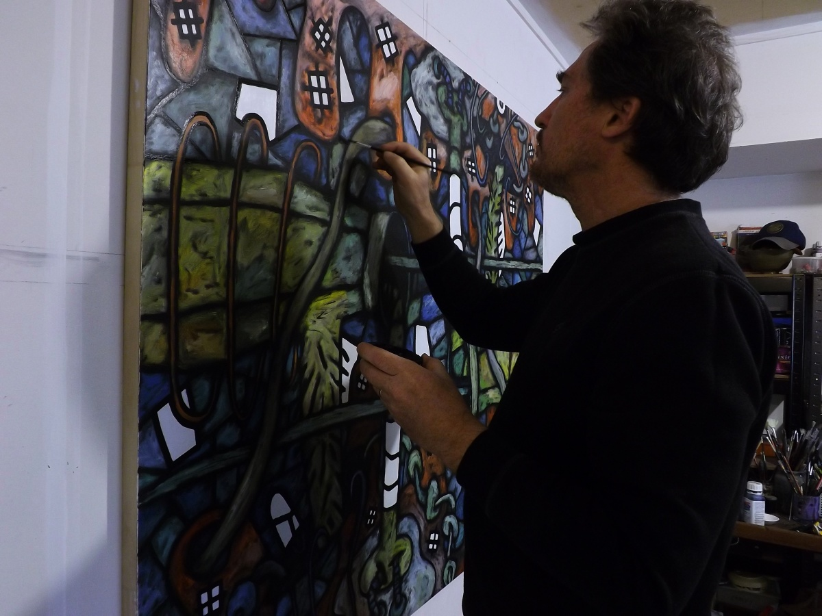 Local Artist David Howard Painting his Series in Apostacy