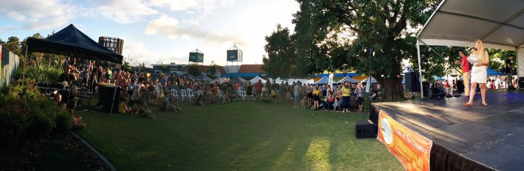 The Crowd at the Main Stage Beerwah Street Party 2015