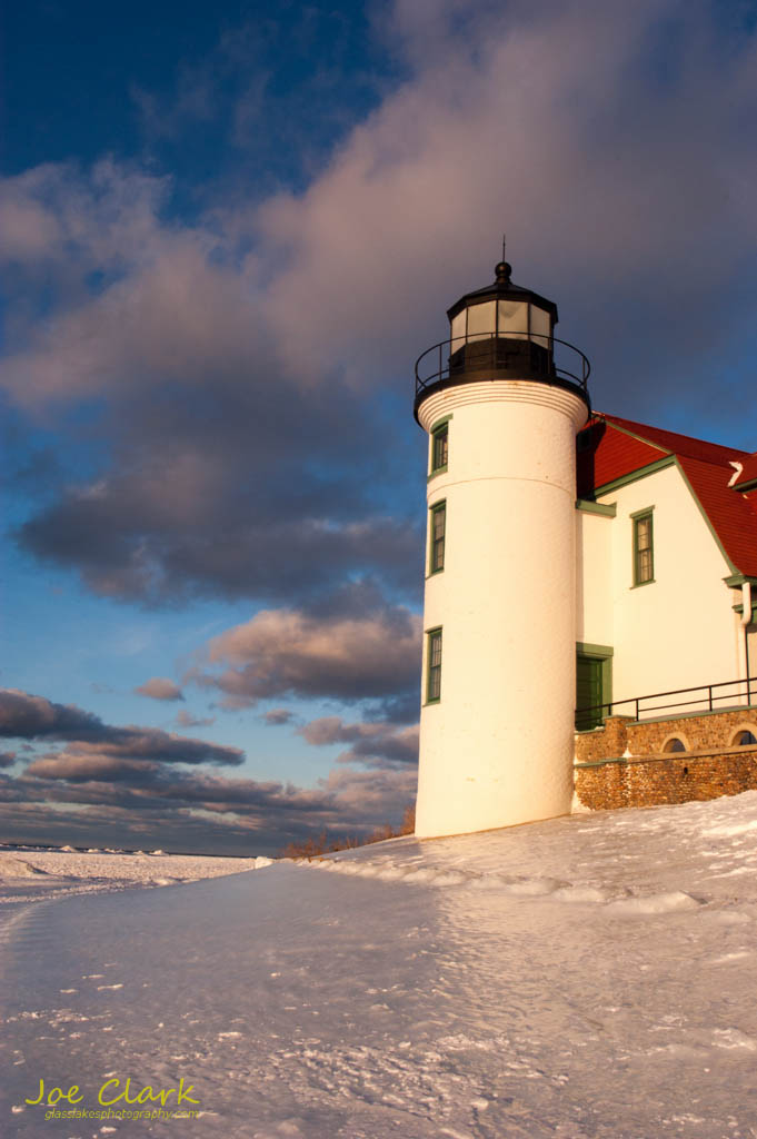 Point Betsie Lighthose in winter. By Joe Clark.