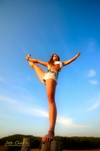 Kara B. Yoga portrait art in Sleeping Bear Dunes. By Joe Clark.