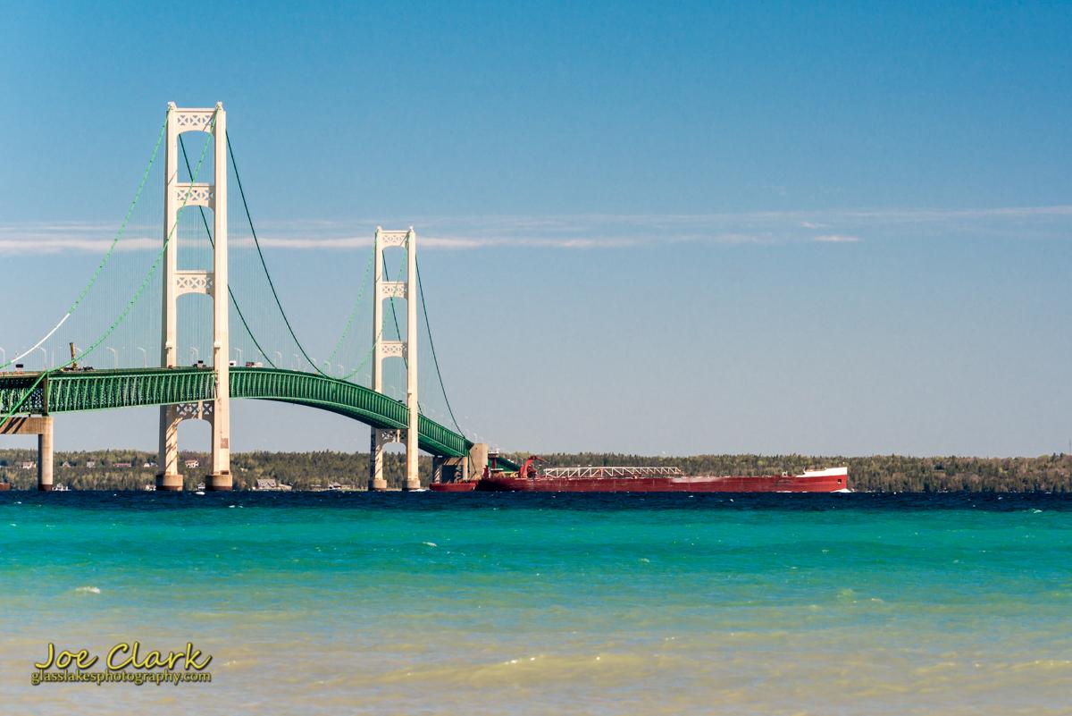 Great Lakes Shipping Mackinaw Bridge photographer Joe Clark Mackinaw City