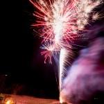 fireworks set off on beach northern michigan.