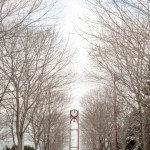 Downtown Petoskey marina park clocktower in winter