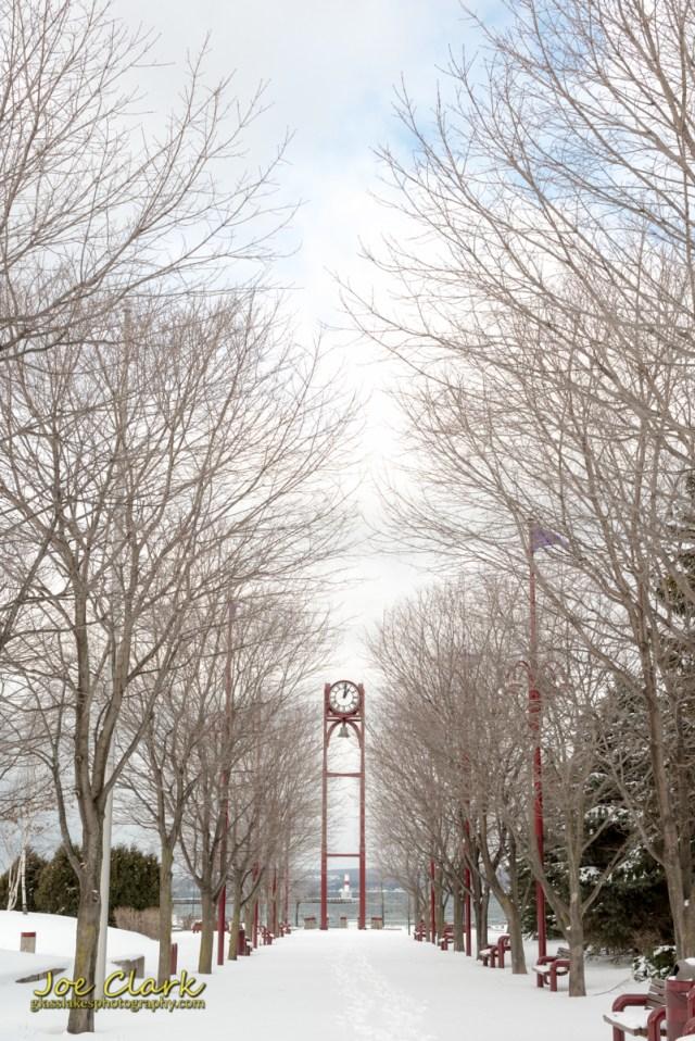 Downtown Petoskey marina park clocktower in winter