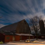 Huron county farm in moonlight
