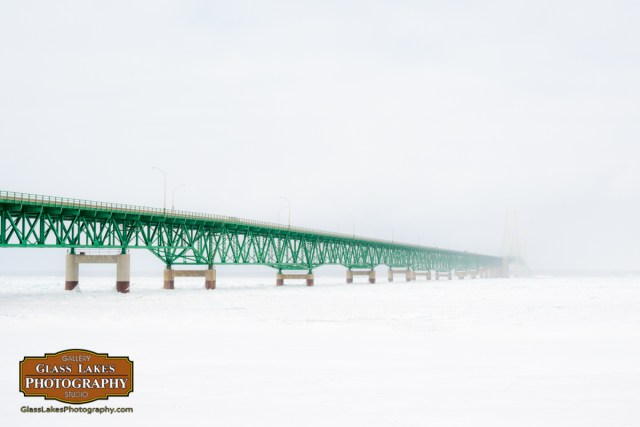 Mackinaw Bridge in snow Northern Micigan Photographer Joe Clark