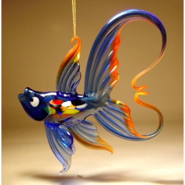 Blue & Red Hanging Glass Fish Ornament