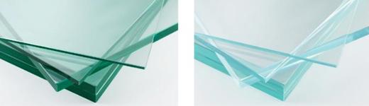 Standard float glass (left), Optiwhite® (right)