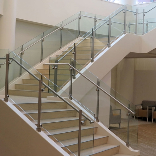 Stair Handrail Glass Glass Stair Balustrade Cost Curved Glass | Cost Of Glass Balustrade Stairs | Wood | Side Clamp | Steel Bracket | Spiral Staircase | Stainless Steel