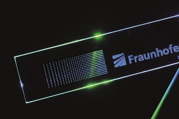 © Fraunhofer ILT, Aachen, Germany. With the specially shaped laser beams, glass is marked in the volume or on the surface and cut out.