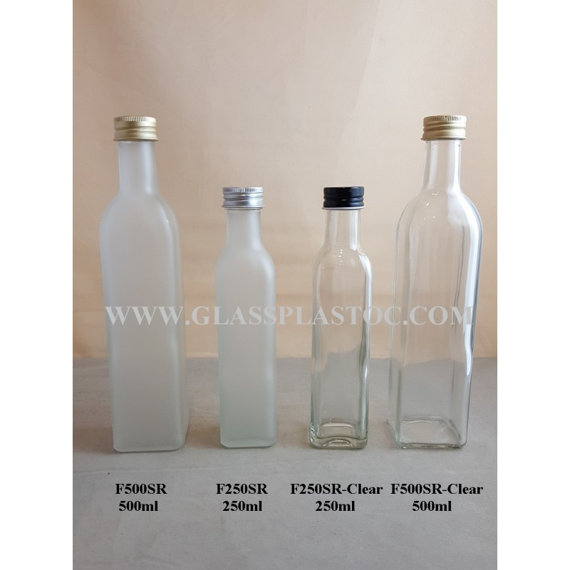 Square Glass Bottle  500ml  250ml  Glass  Plastic Packaging Sdn Bhd