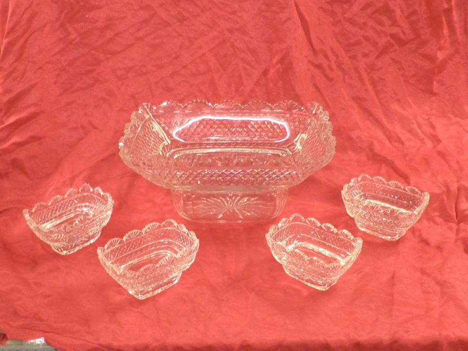 Hand made hand cut epergne glass All shapes and sizes made to order