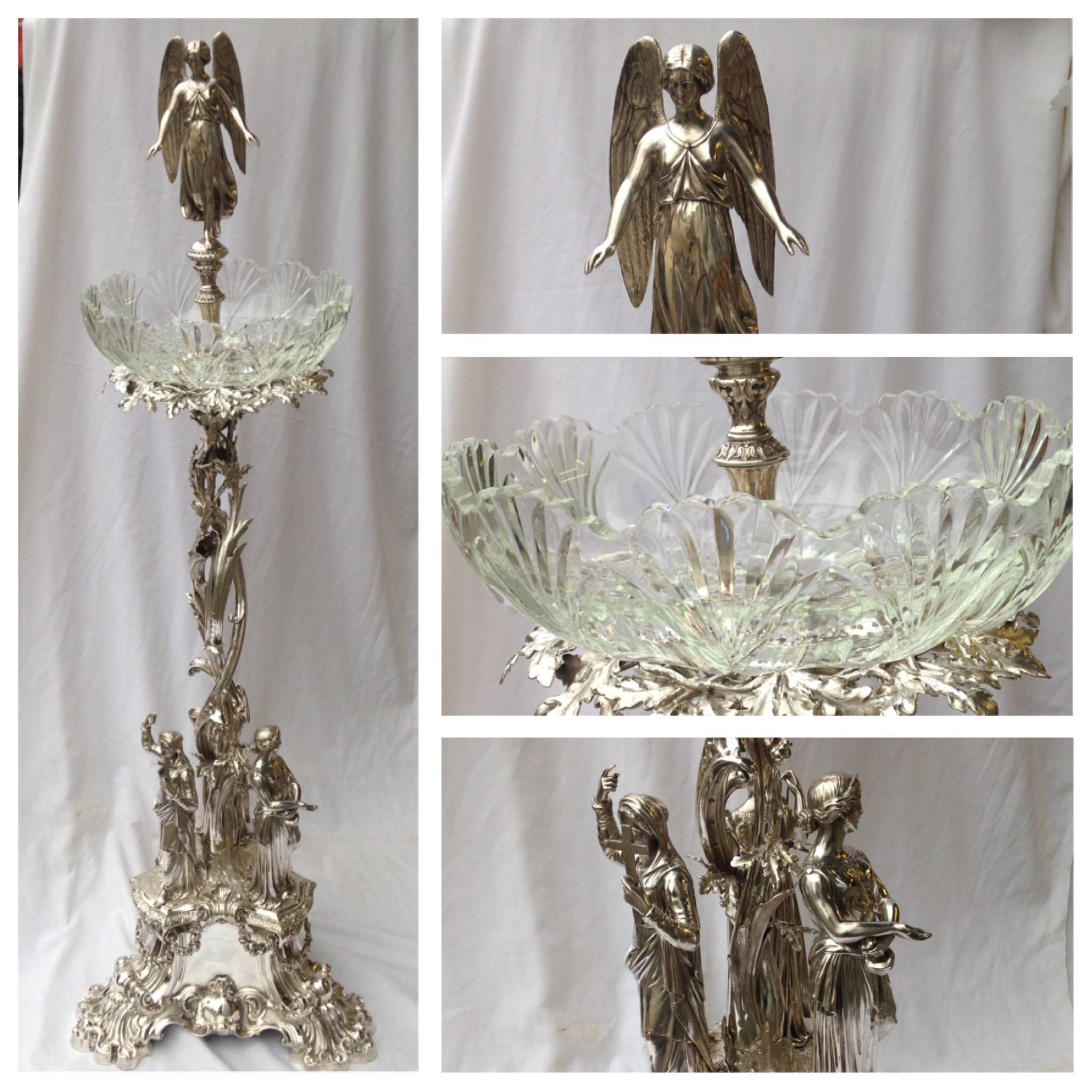 Stunning large silver epergne with a bespoke glass bowl hand-cut