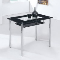 Small Compact - Glass Dining Table Only - Black, Frosted ...