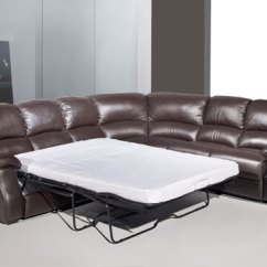 Faux Leather Reclining Sofa Set Malaysian Rubber Wood Esprit Corner With Recliner And Sofabed - Brown